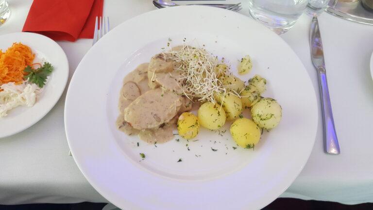 Steak with mushroom sauce and potatoes